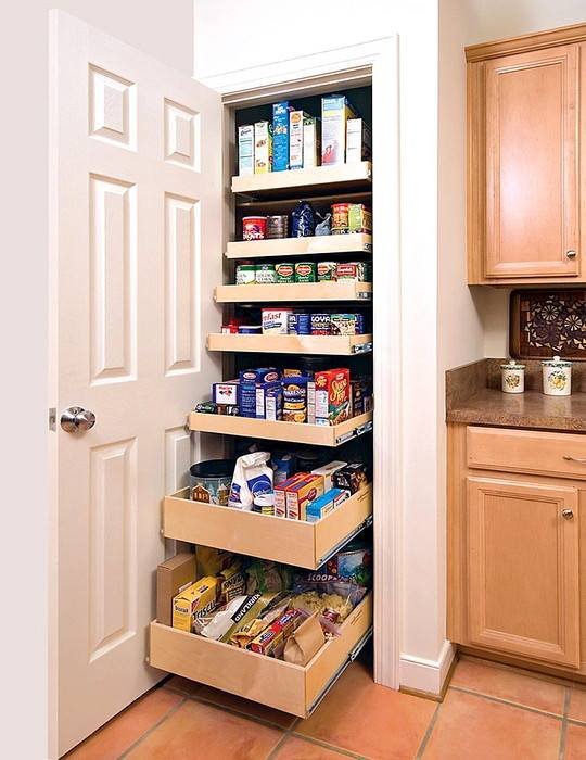kitchen pantry with drawer pulls