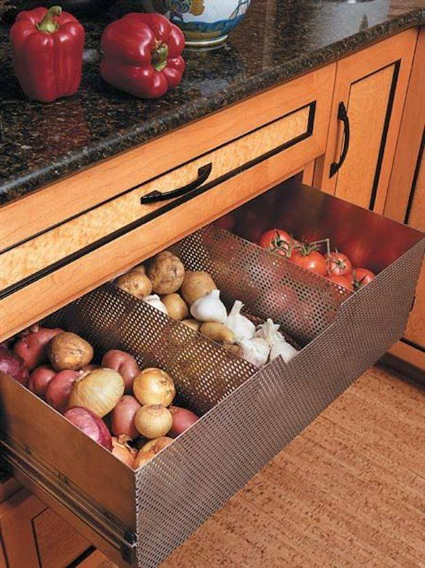 Kitchen hack -- perforated metal drawer for potatoes storage