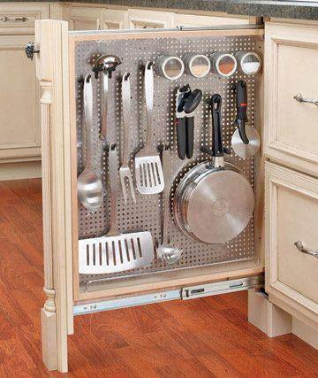 Kitchen hack -- Cabinetry-Pulls holding your cooking utensils.