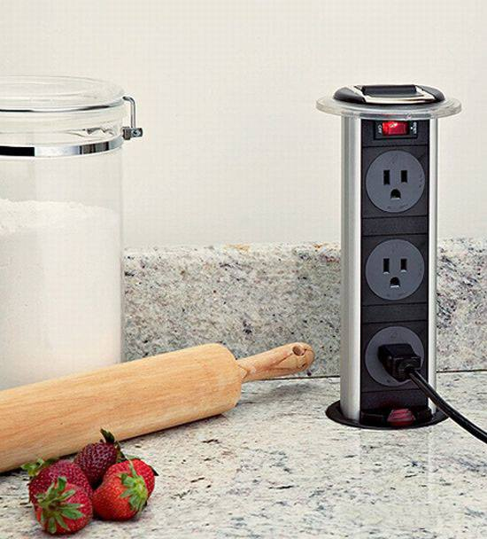 Counter top hide away power strip