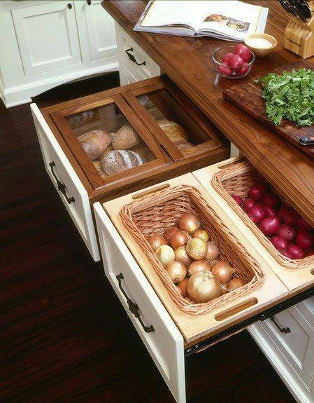 Kitchen drawer Hack below with Storage Bins & Bread Box