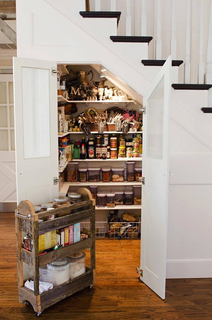 kitchen hack -- Stair case pantry