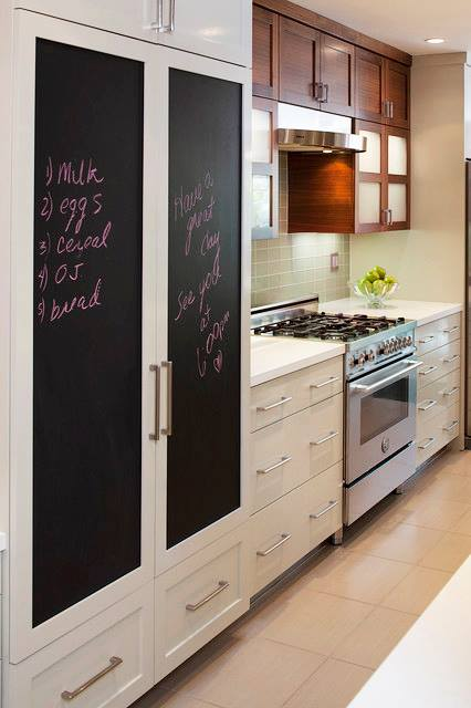 Chalkboard Options on Cabinetry doors for notes or grocery lists