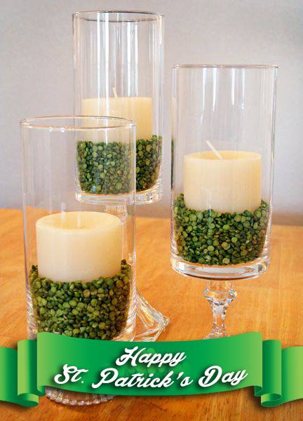 Saint Patrick's Day Decor Idea Green Split peas or similar to weigh down Candles.