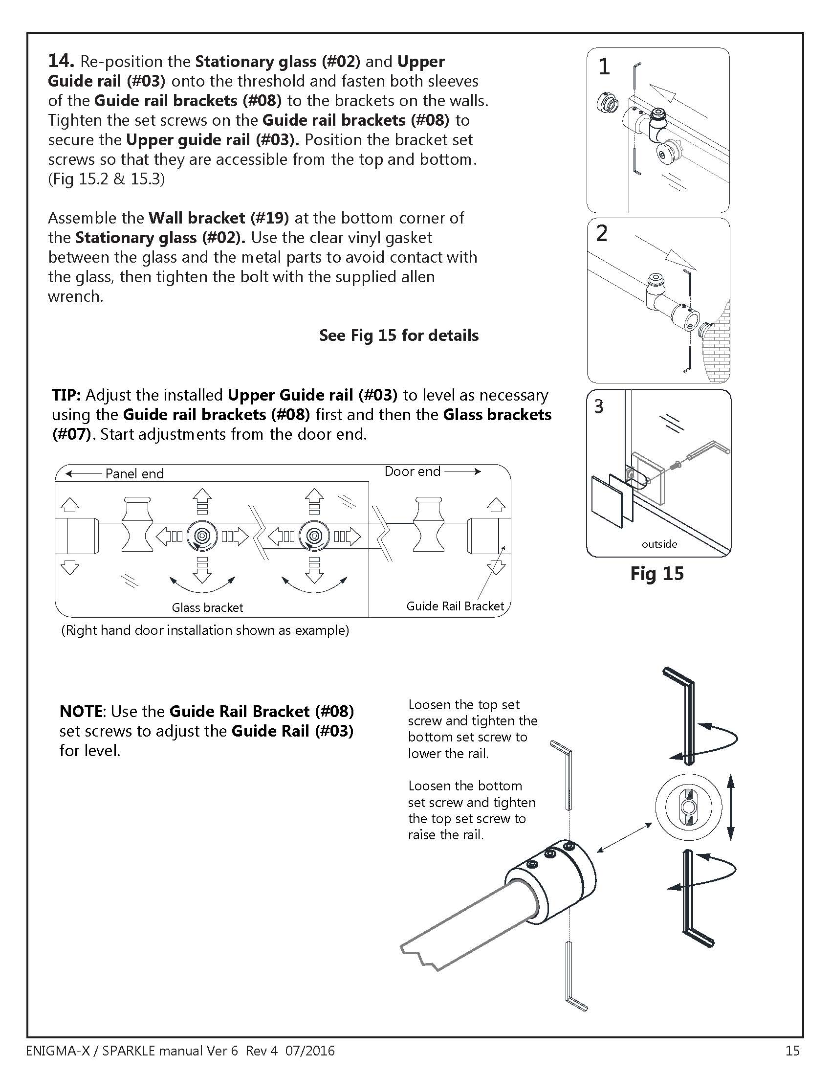 DreamLine Enigma X glass shower door Install manual Fig 15 - Guide-Rail
