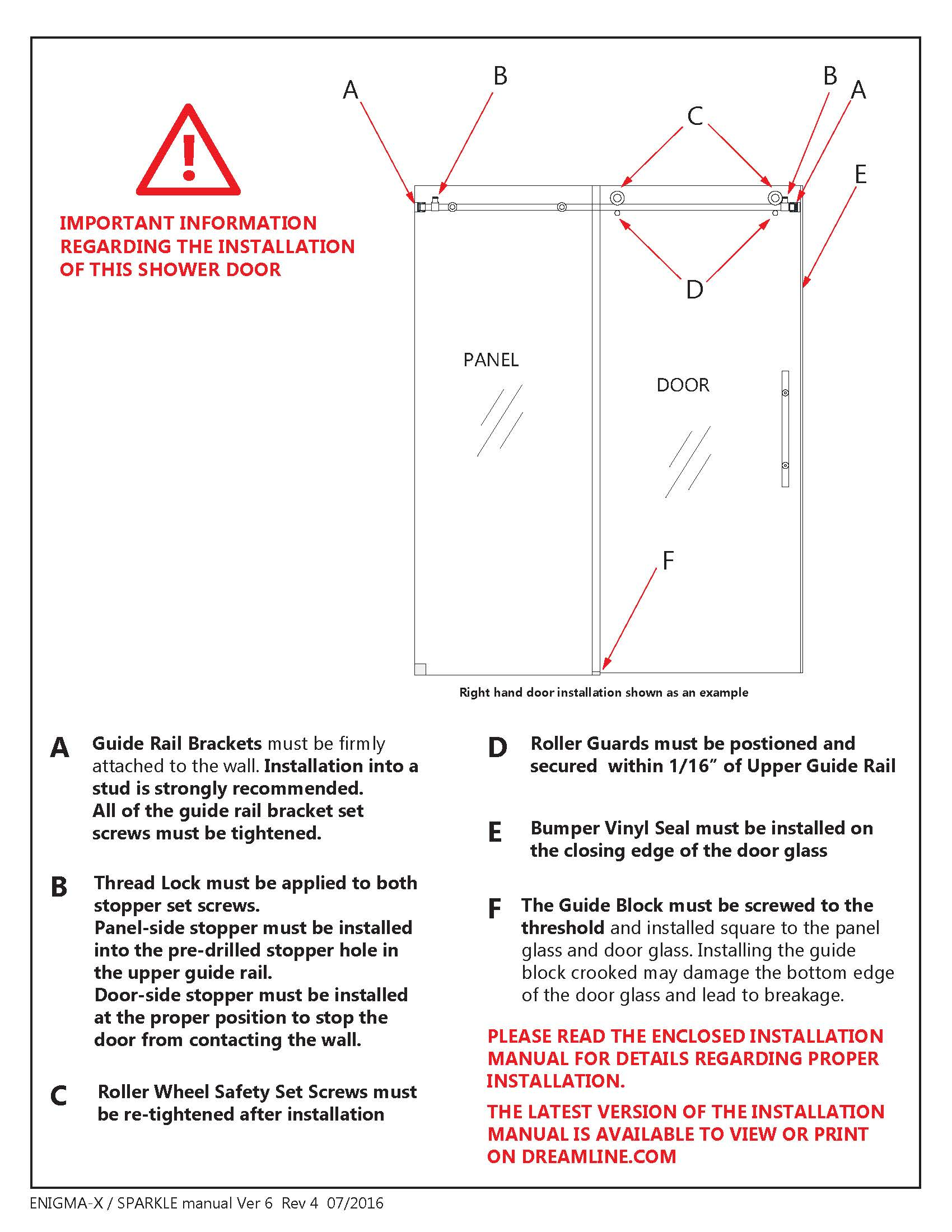 DreamLine Enigma X Glass Shower Door - Install manual Section A- F