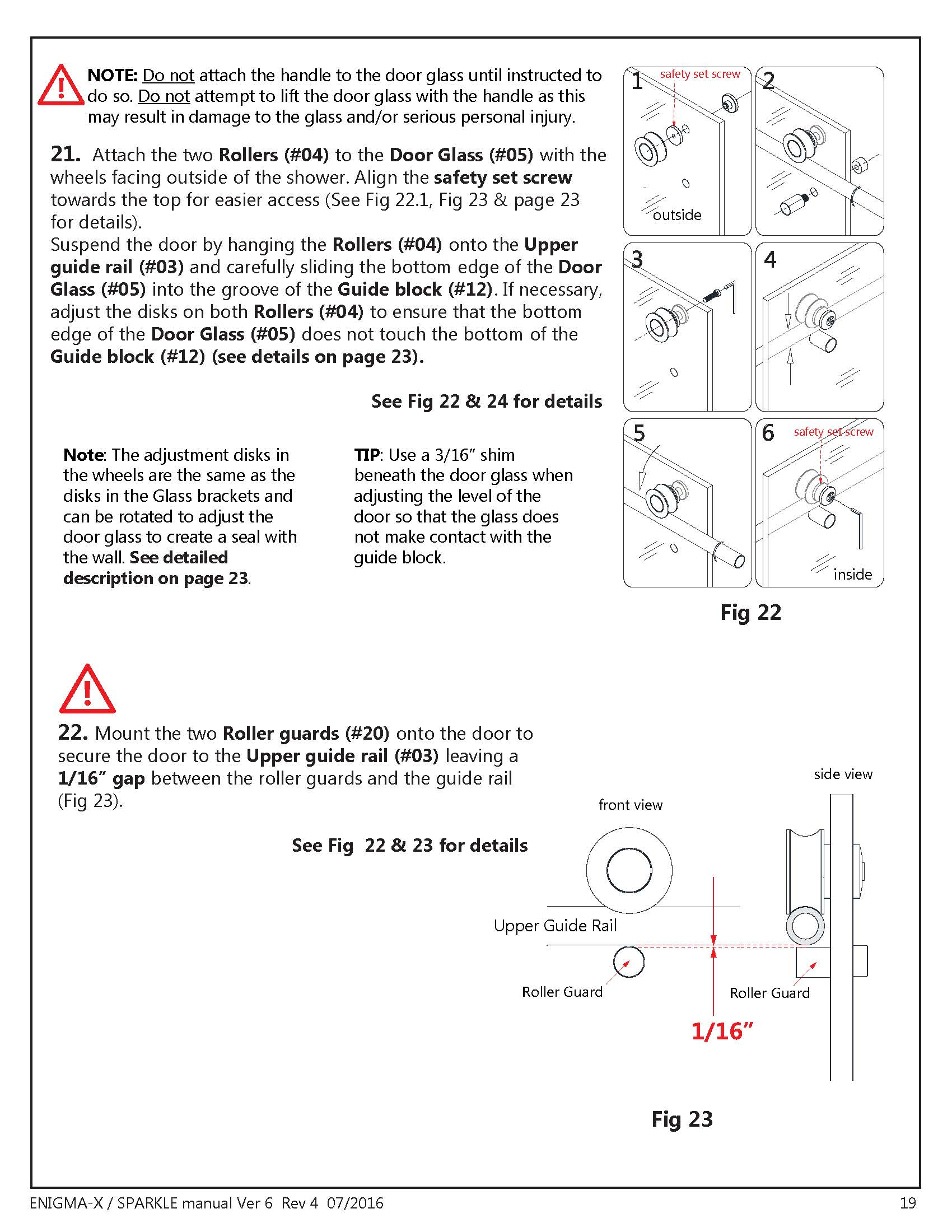 DreamLine Enigma X glass shower door Install manual NOTE Sections 21 & 22