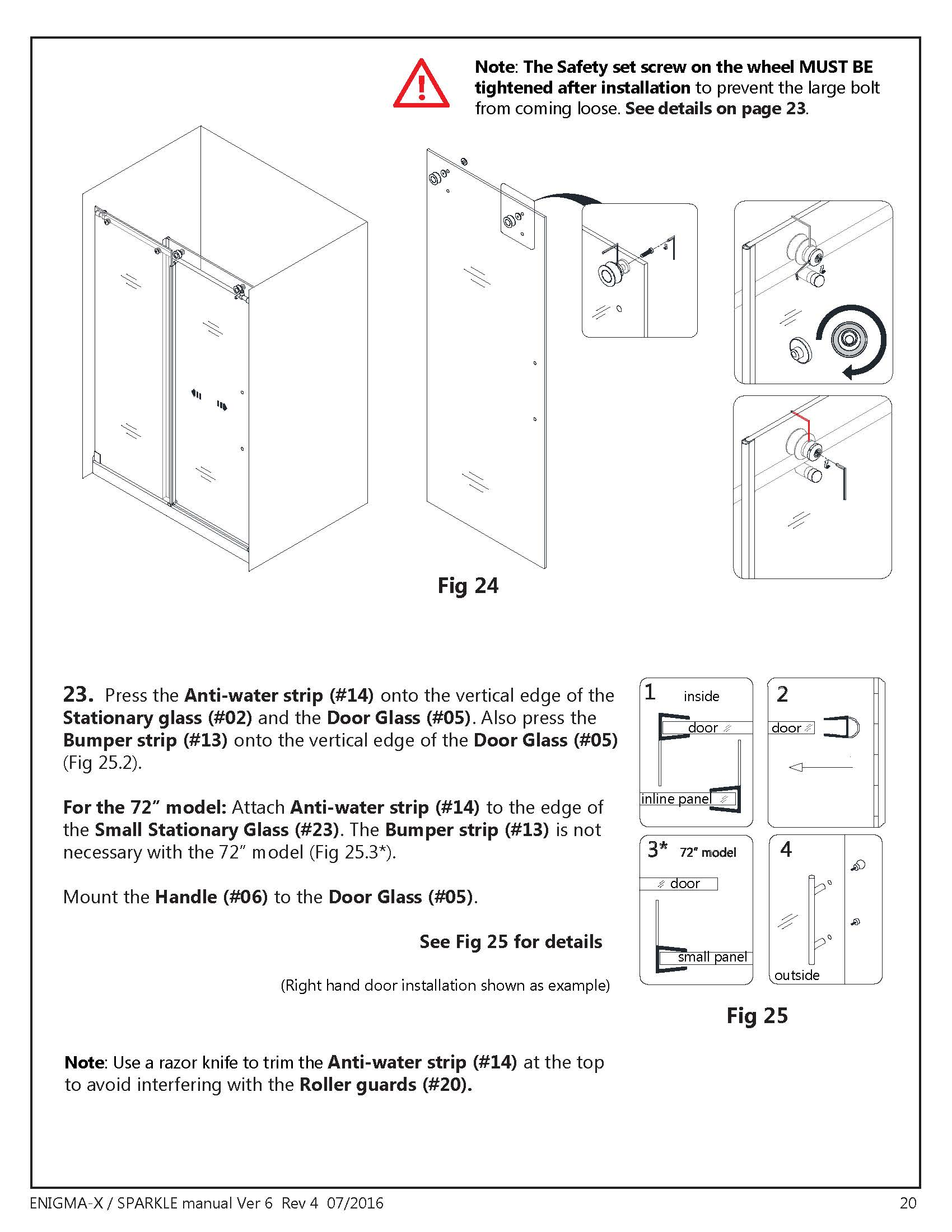 DreamLine Enigma X glass shower door Install manual Section - Set Door Level & Seal Installation