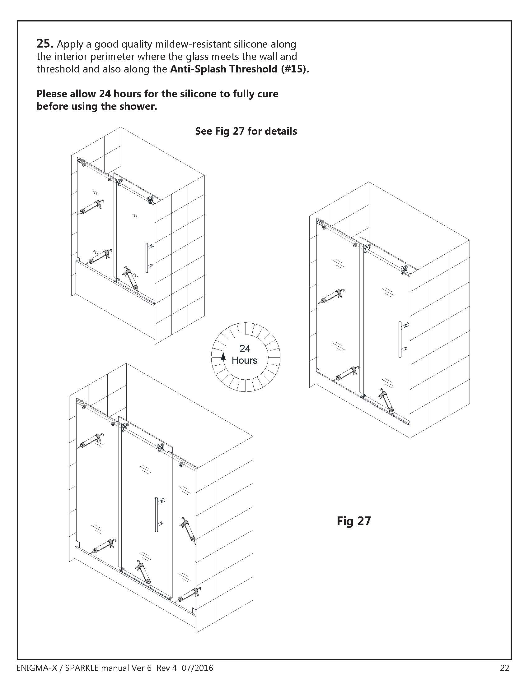 DreamLine Enigma Glass Shower Door Install manual Section - Final Step where and how to apply silicone illustrations