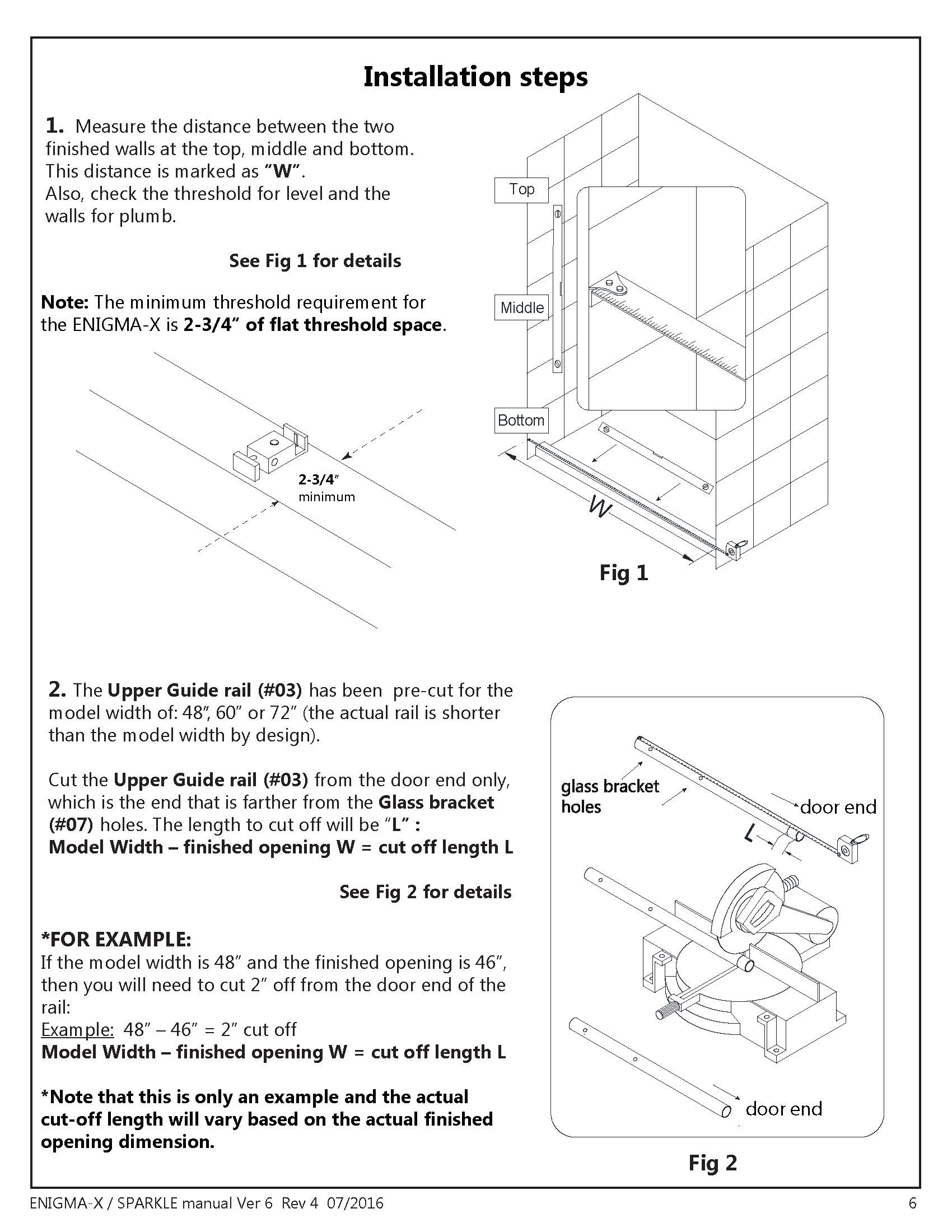 DreamLine Enigma X glass shower door Install manual - Installation Steps