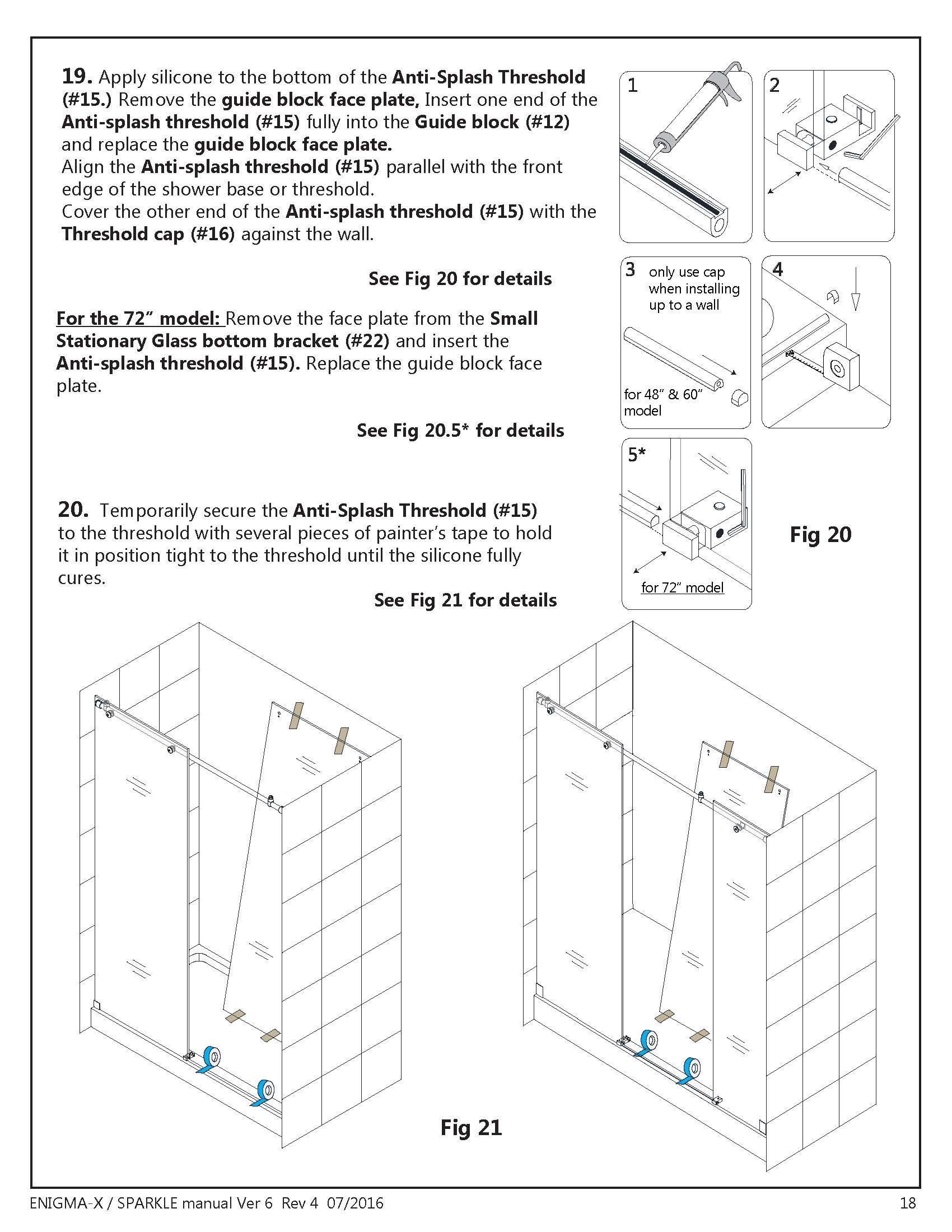 DreamLine Enigma X glass shower door Install manual Section page 18