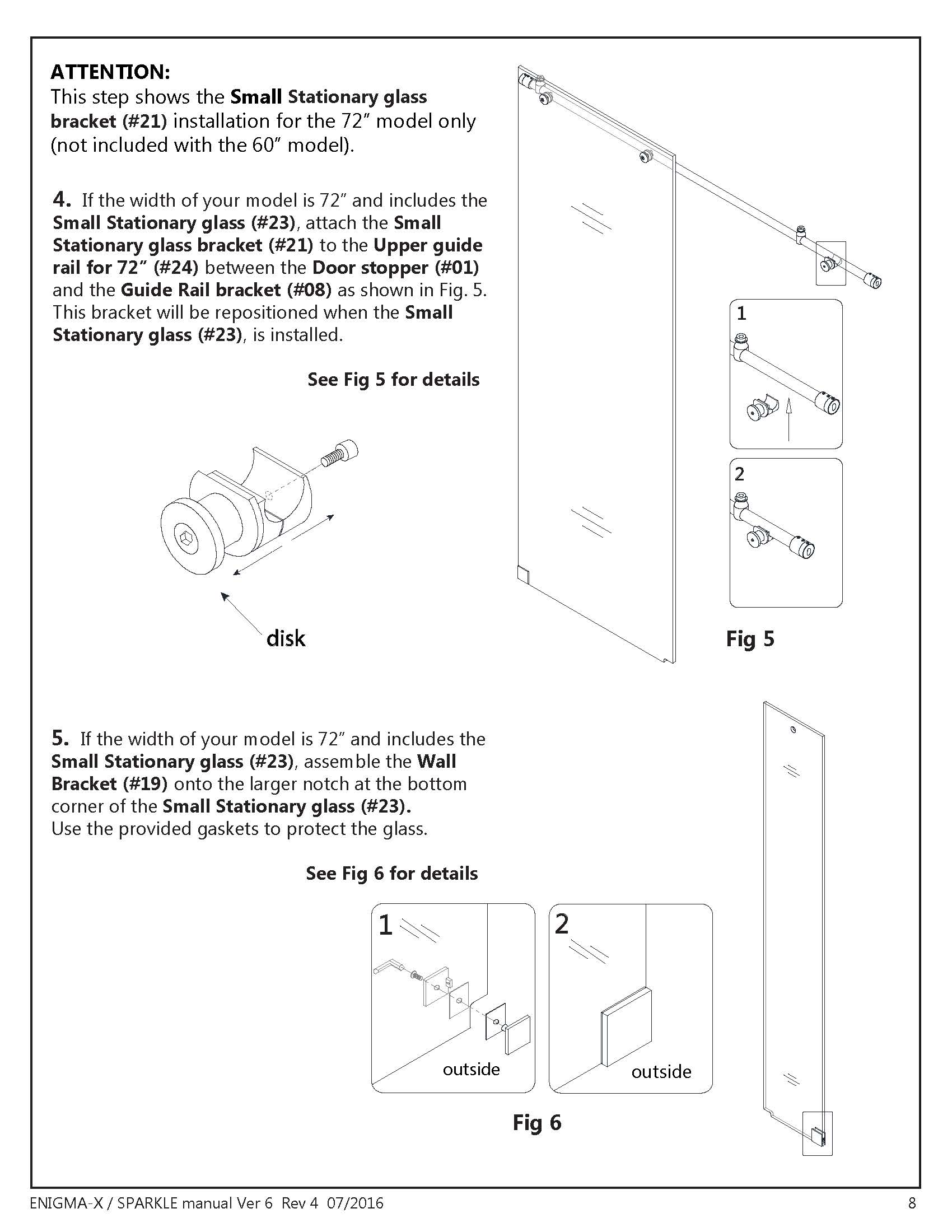 DreamLine Enigma X glass shower door Install manual page 8