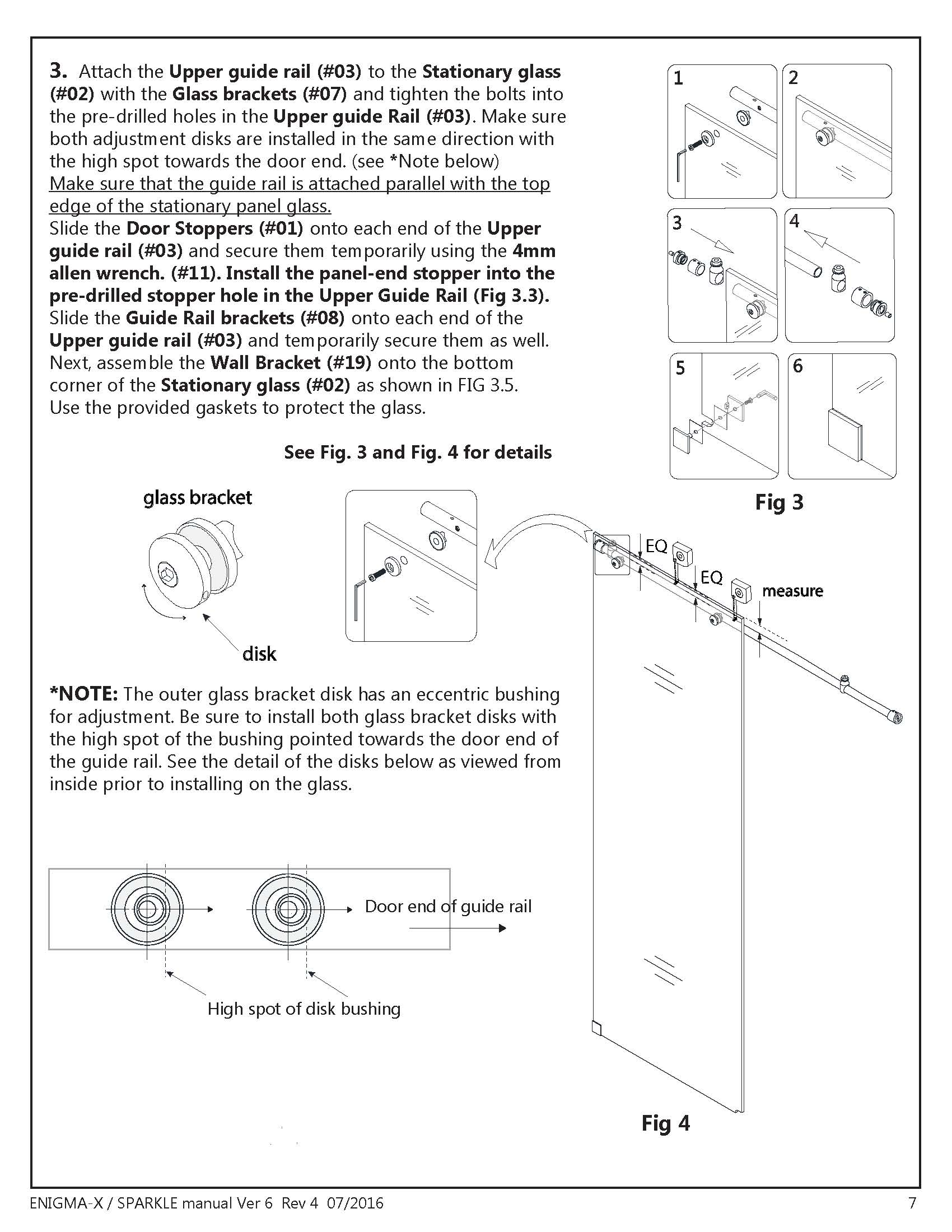 DreamLine Enigma X glass shower door Install manual FIg. 3 & 4