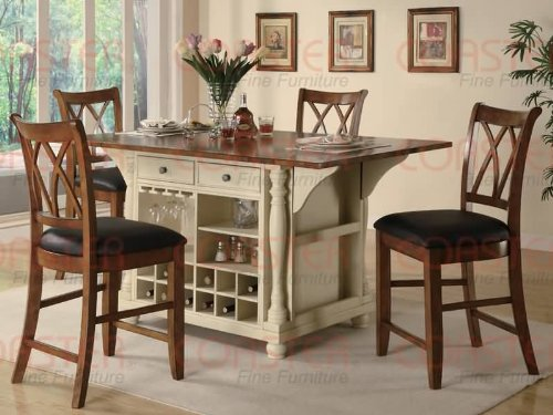 Product option Kitchen Island in buttermilk-cherry-finish with drop leaf