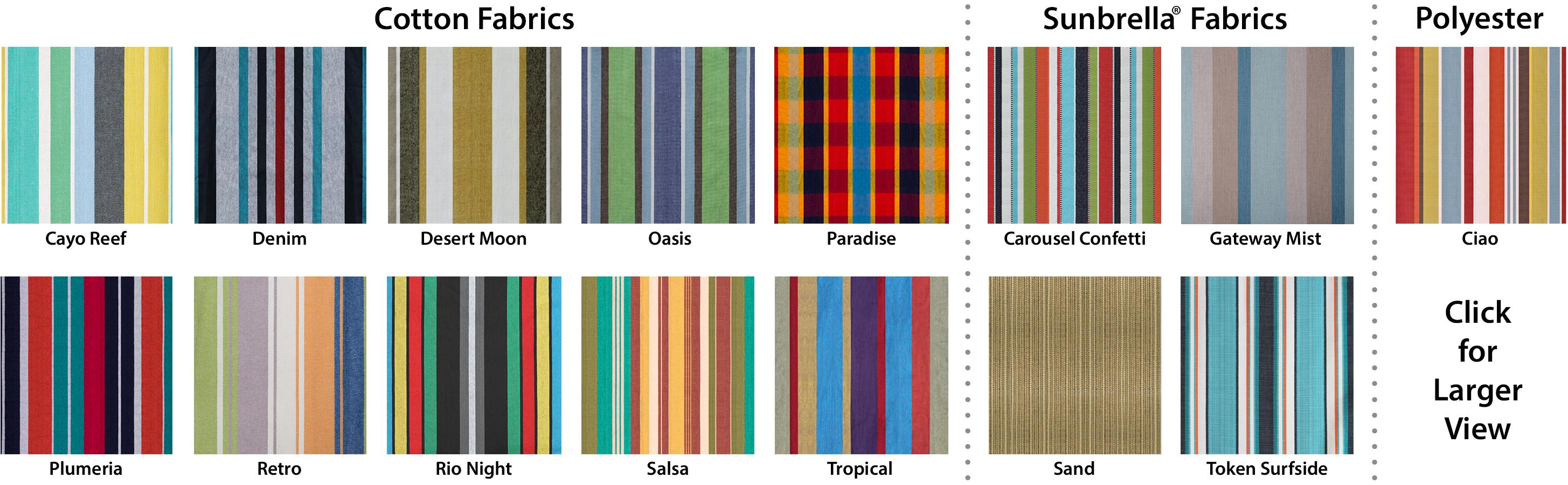 Vivere Color Options By Material Table