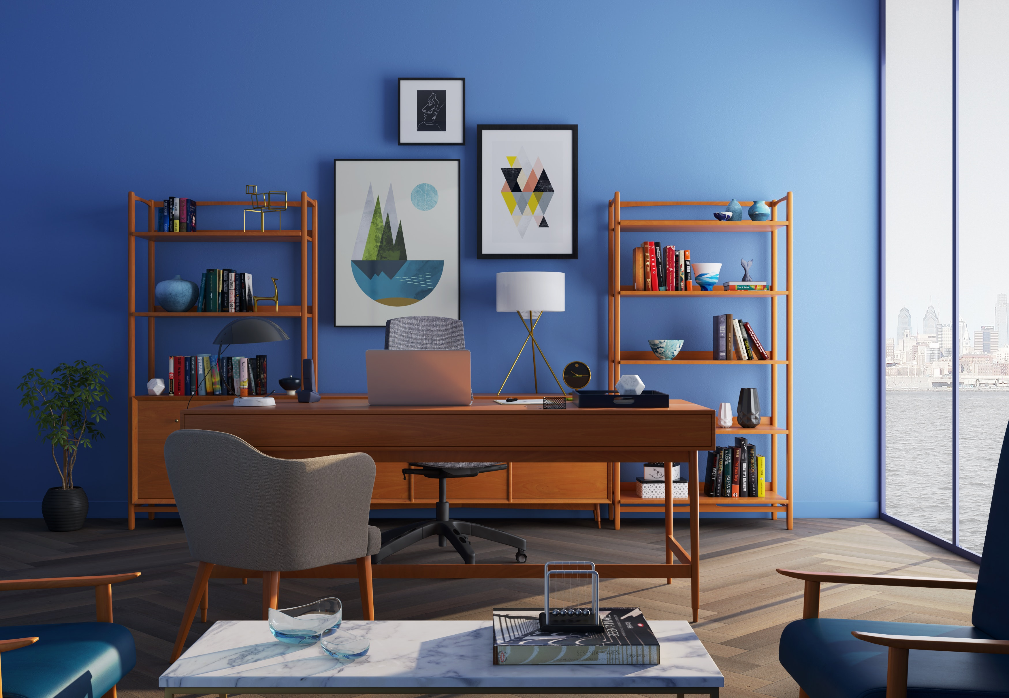 Our Beginners guide in interior design & decorating enables you to create this small home office as well