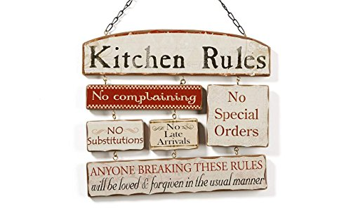 cute kitchen decor ideas: kitchen Rules Wall Sign