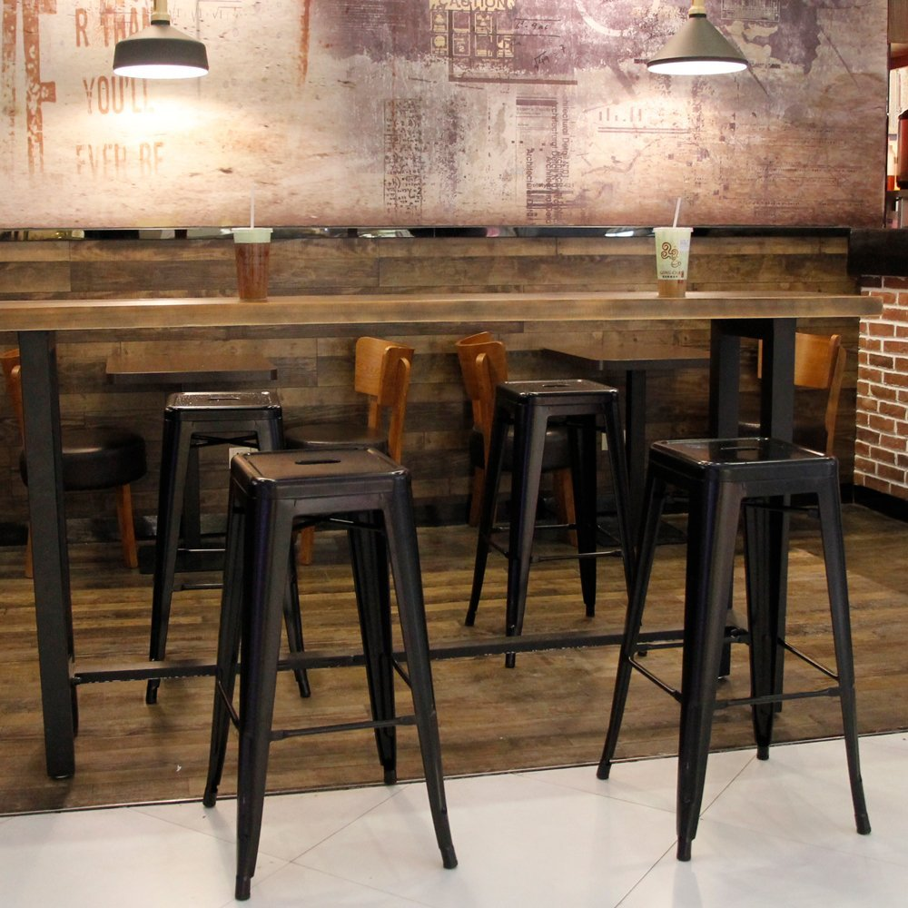 4-Pack-Of-Furmax-30-High-Backless-Metal-Stools-In-Black
