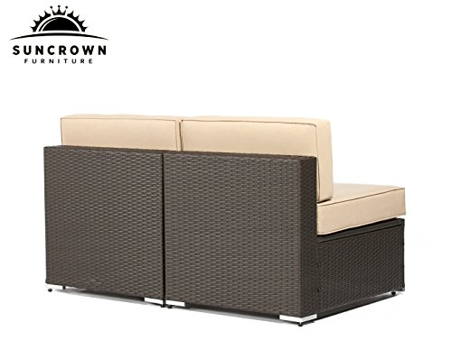 Backside of the Unwind on your Suncrown elite resin wicker patio furniture. Relax & share the indoor luxury feel with these Chairs By Suncrown outdoors on your patio or deck.