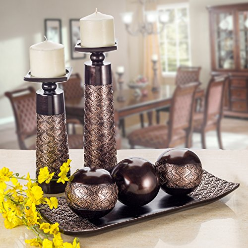 Exclusive Home Accessories For Cozy Home Decor The Dublin-Decorative-Tray-and-OrbsBalls-Set-of-3-Centerpiece-Bowl-with-Balls-decorations-Matching-Rustic-Decorated-Spheres-Kit-for-Living-Room-or-DiningCoffee-Table-Gift-Boxed-Brown-0-0_eidohq