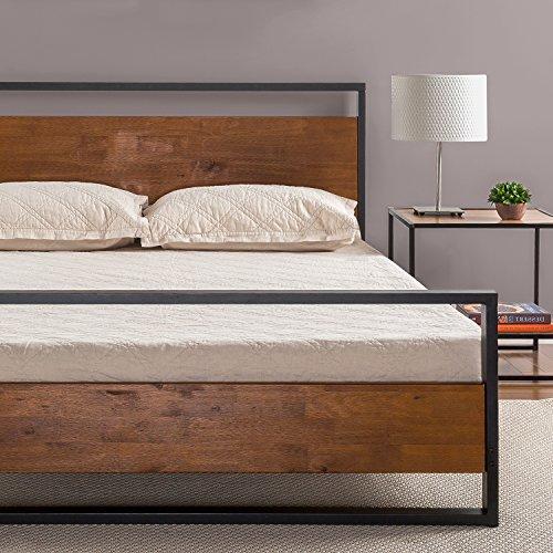 Zinus-Ironline-Metal-and-Wood-Platform-Bed-with-Headboard-and-FootboardBox-Spring-OptionalWood-Slat-Support-Twin, zinus 6 inchcot size narrow twin, zinus twin size mattress,