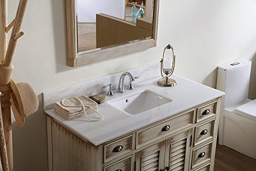 White Abbeville Vanity 46 Inch Benton Cottage Style Bath Vanity (Solid Wood )