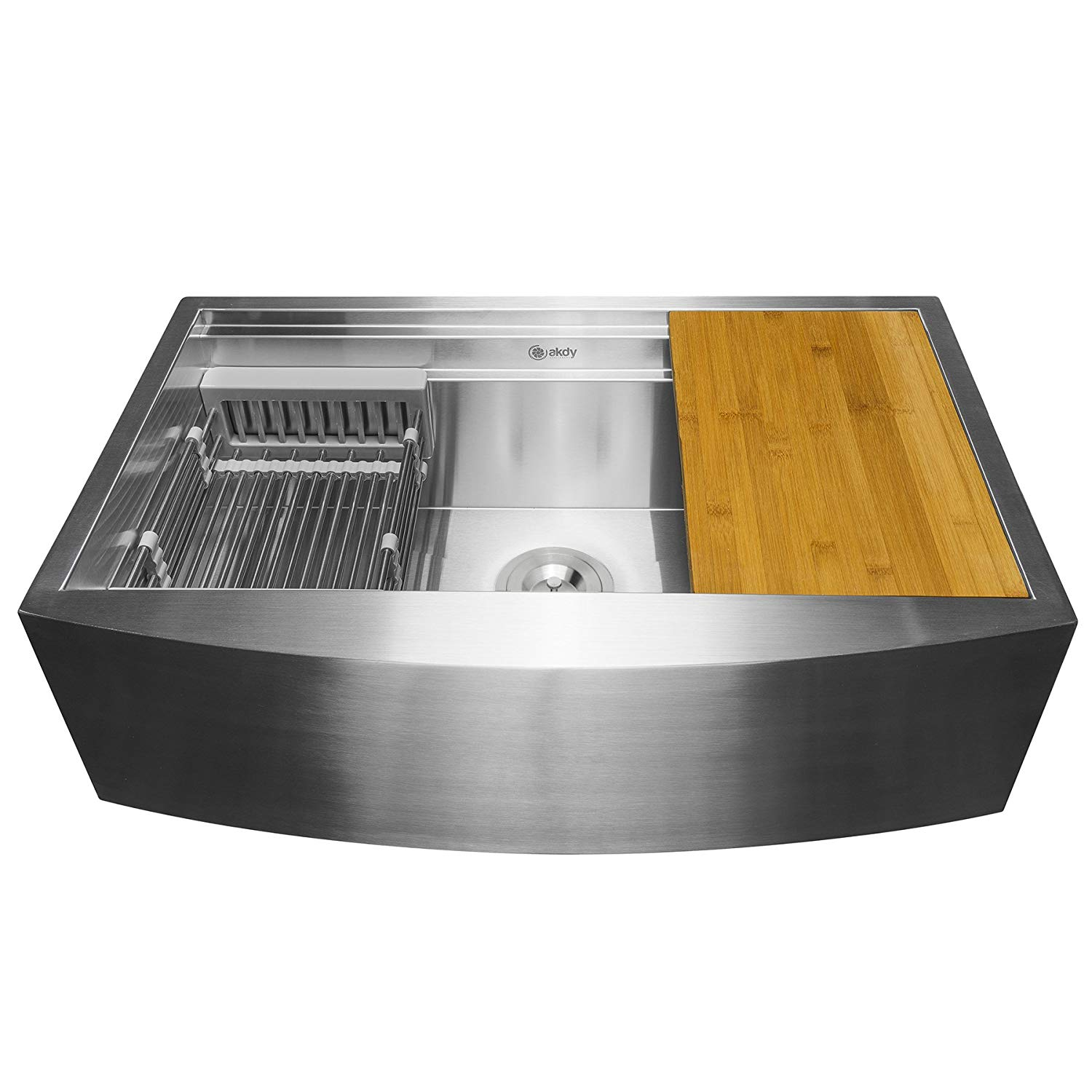 "The Farmhouse Kitchen Decor Sink  AKDY  KS0244 33-Inch (33""x22""x9"") Apron Farmhouse kitchen sink is Handmade Stainless Steel Farmhouse Kitchen Sink  Single Bowl is a Space Saving Kitchen Sink - Kitchen Sink with  Drain Strainer Kit Adjustable Tray and Cutting Board    Here are all the details!"