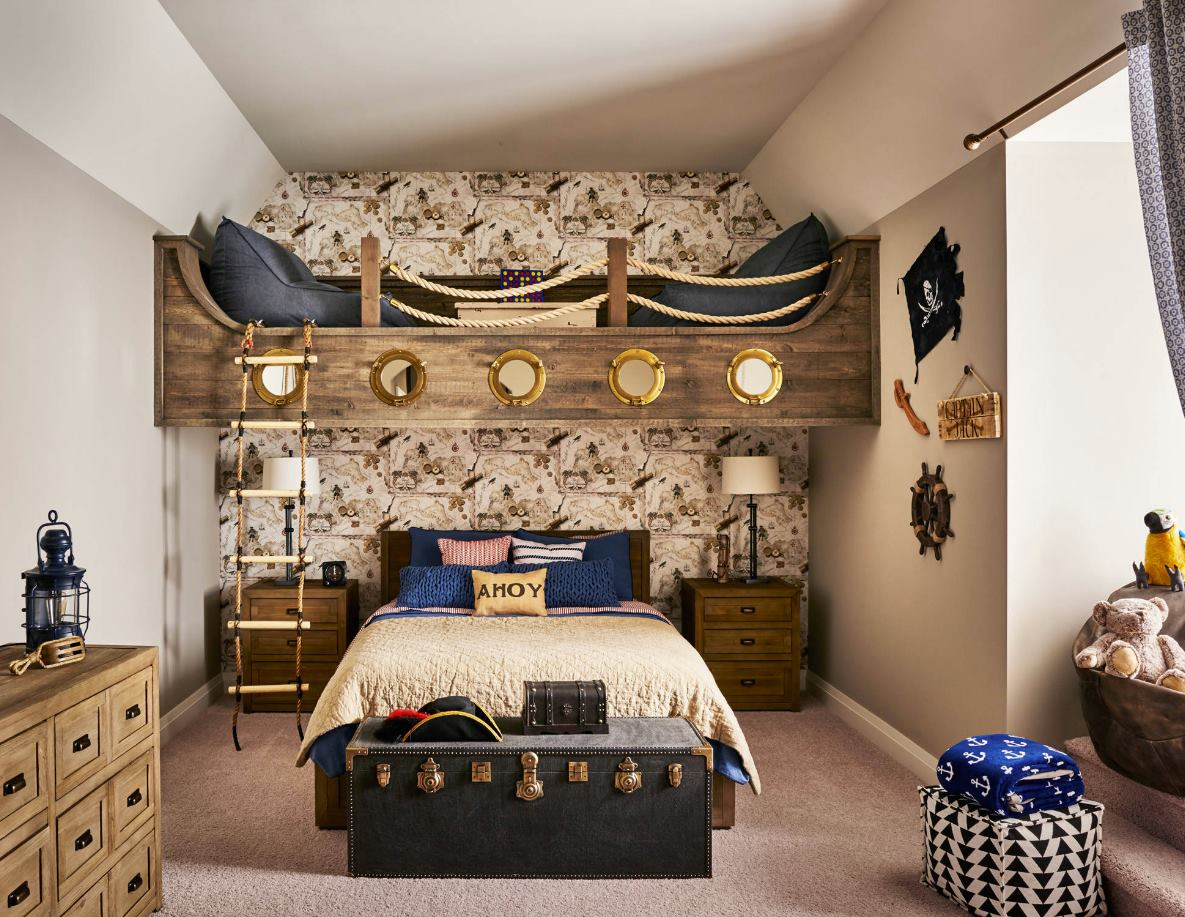 Pirate Theme With Built in Bunk in Bedroom room ideas for teenage boys # 26