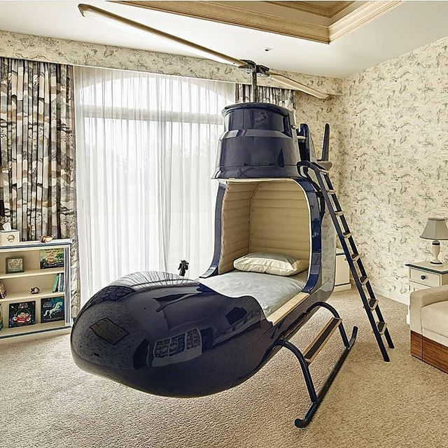 A Helicopter as Bed is a great bedroom idea for teens