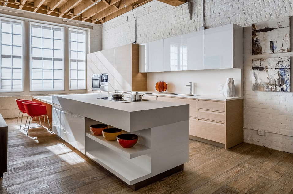 Modern Industrial Kitchen and Kitchen Island design ideas with options like kitchen counter space & home style Kitchens with a cooking island
