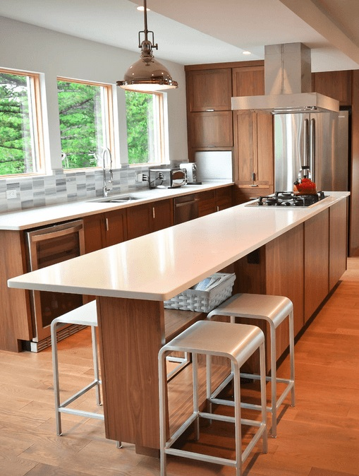 Kitchens with cooking island can be more flexible lot of kitchen installer think...well they are no designer as this photo here proves. That a kitchen island does not have to be a space eating monster.