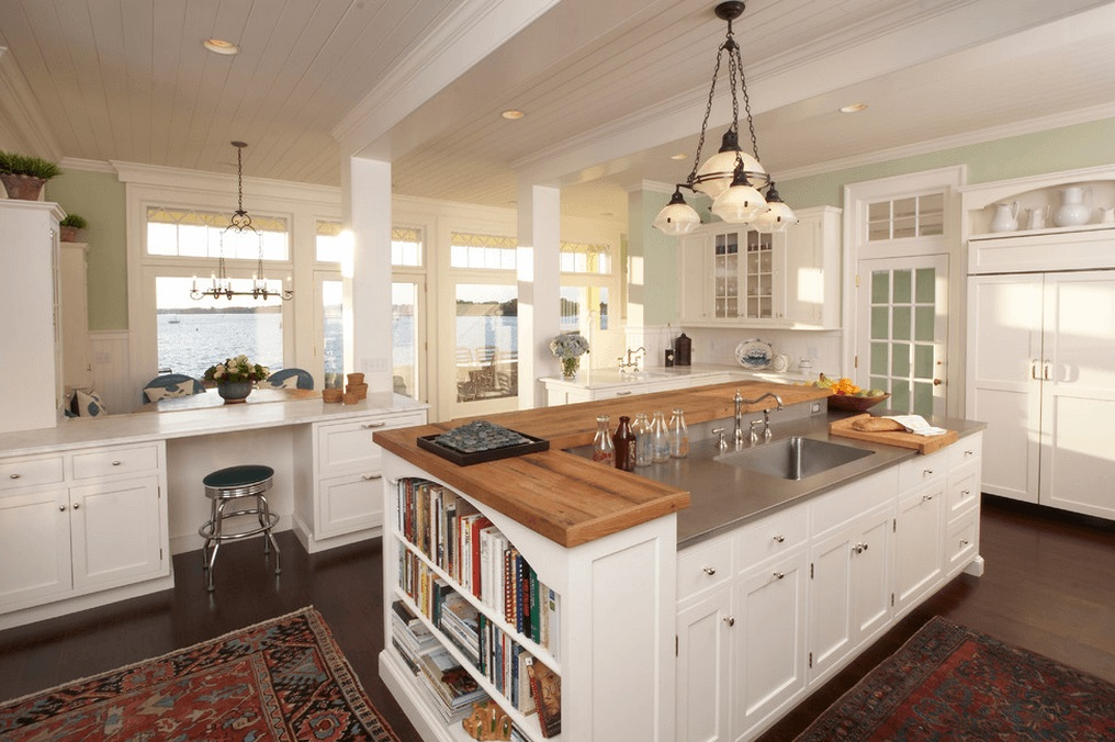 Multi Tier  Kitchens with Island - Wood Top Sink Island are common in our collection of 130 kitchen island design ideas photos.