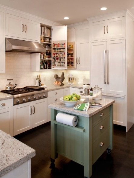 Mobile or trolley islands can be a great solutions that work in most small kitchen