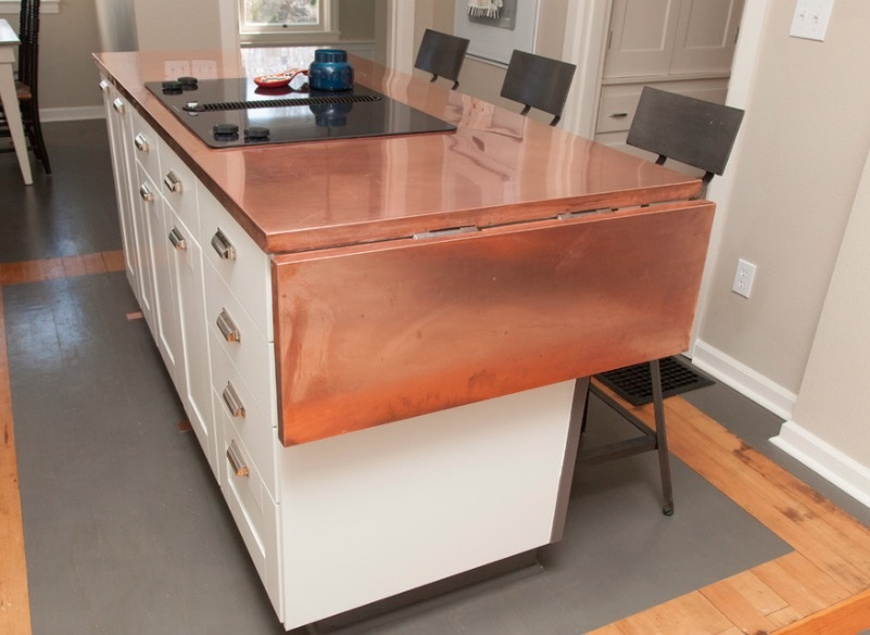 Drop leaf in copper with stove top option