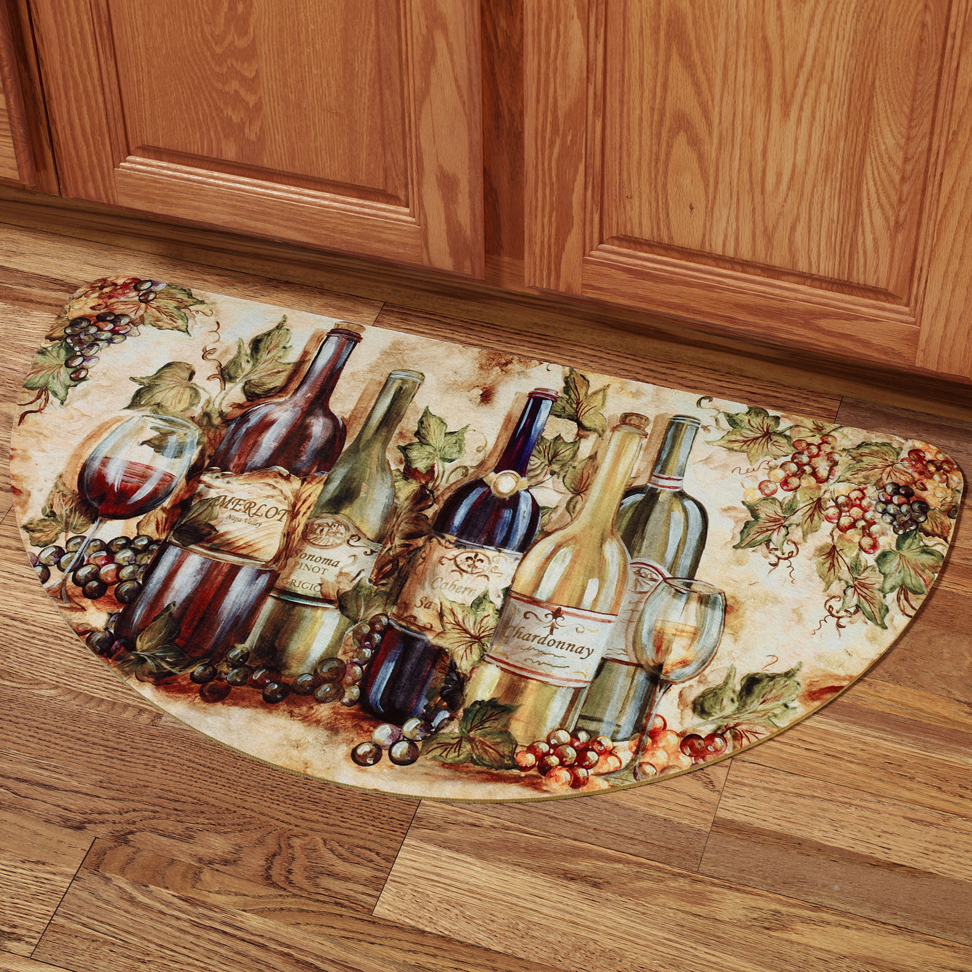 Cute Wine Themed Kitchen Decor Rugs