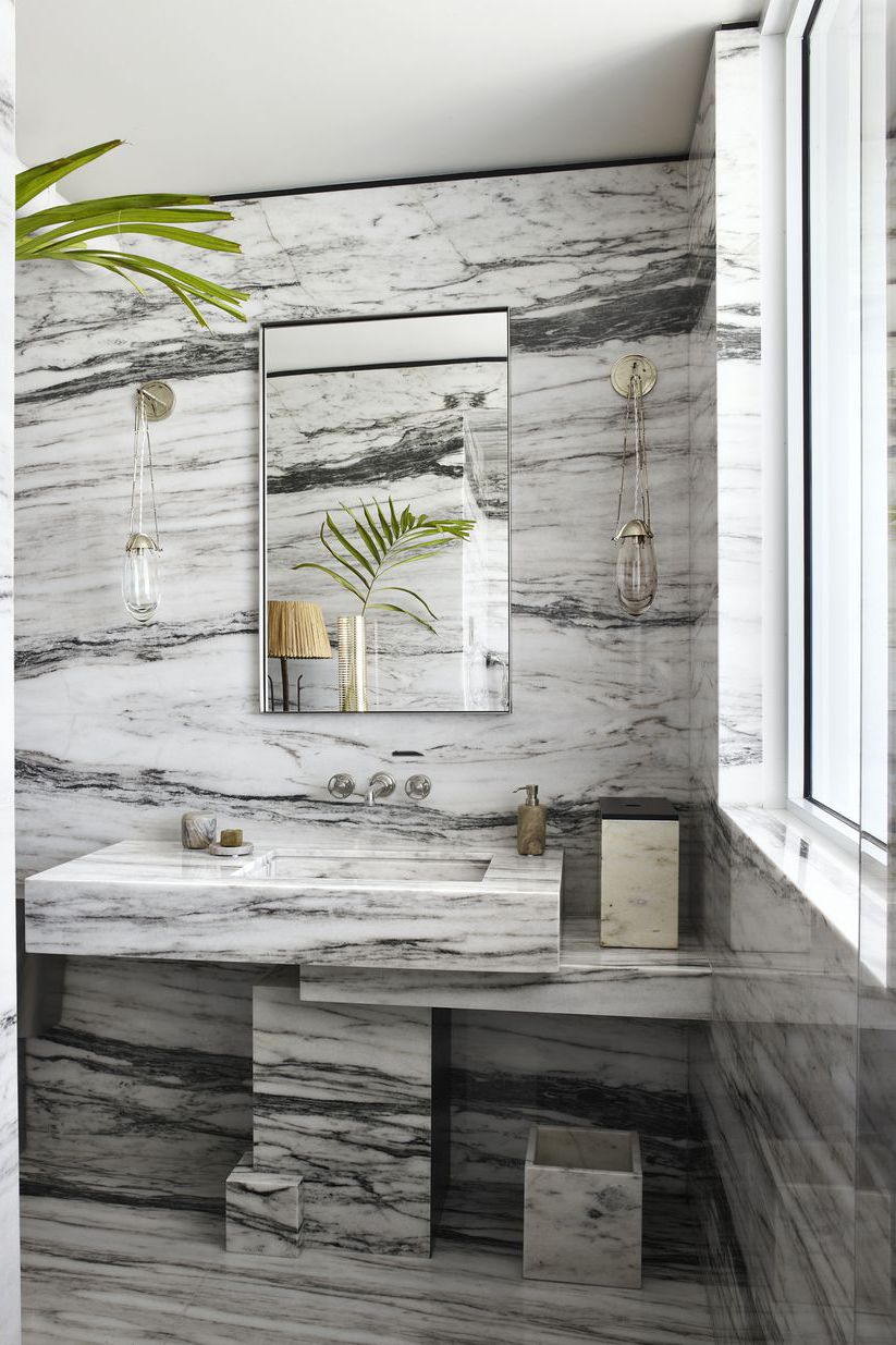 #6 Monochromatic The Classic 2020 Bath Decor is White and Grey Marble