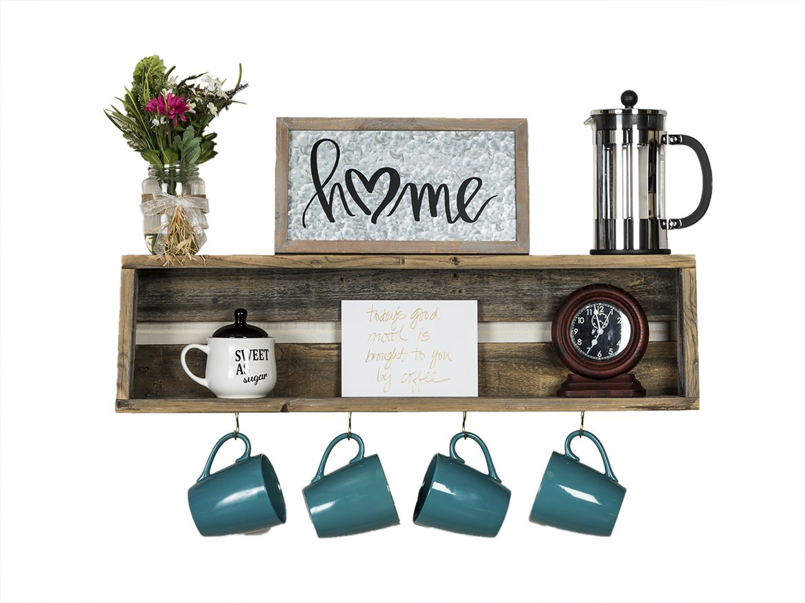Del Hutson Designs - Rustic Coffee Bar Floating Shelf, USA Handmade Reclaimed Wood (Natural)  July 2019 Price: $29,99 at Amazon What a series of cute coffee themed kitchen decorations
