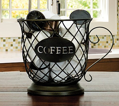 ARAD Coffee Cup Pod Storage Basket, Lattice Wire Basket, find the details & customer review #15 of my 15 most popular & cute coffee themed kitchen decorations