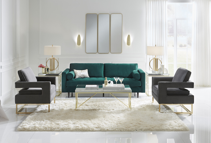 Designer living room, with green sofa