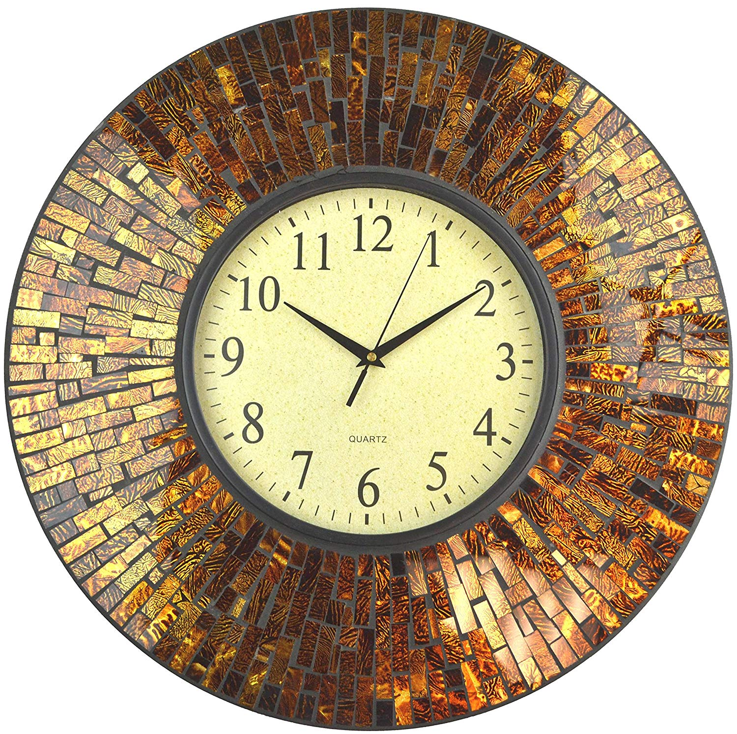"Decorative handmade beautiful Amber mosaic wall clock with Arabic dial.  A great Home Accessories For Cozy Home Decor  Protected glass cover on the brown dial, dial measures 9.5"", clock diameter 19"". 1-year manufacturer warranty. High-quality quartz battery operated movement. Requires one AA battery (not included). Elegant and well made will match most wall decor and furniture. Works perfect as a Housewarming gift. Price: $84.99 & FREE Shipping"