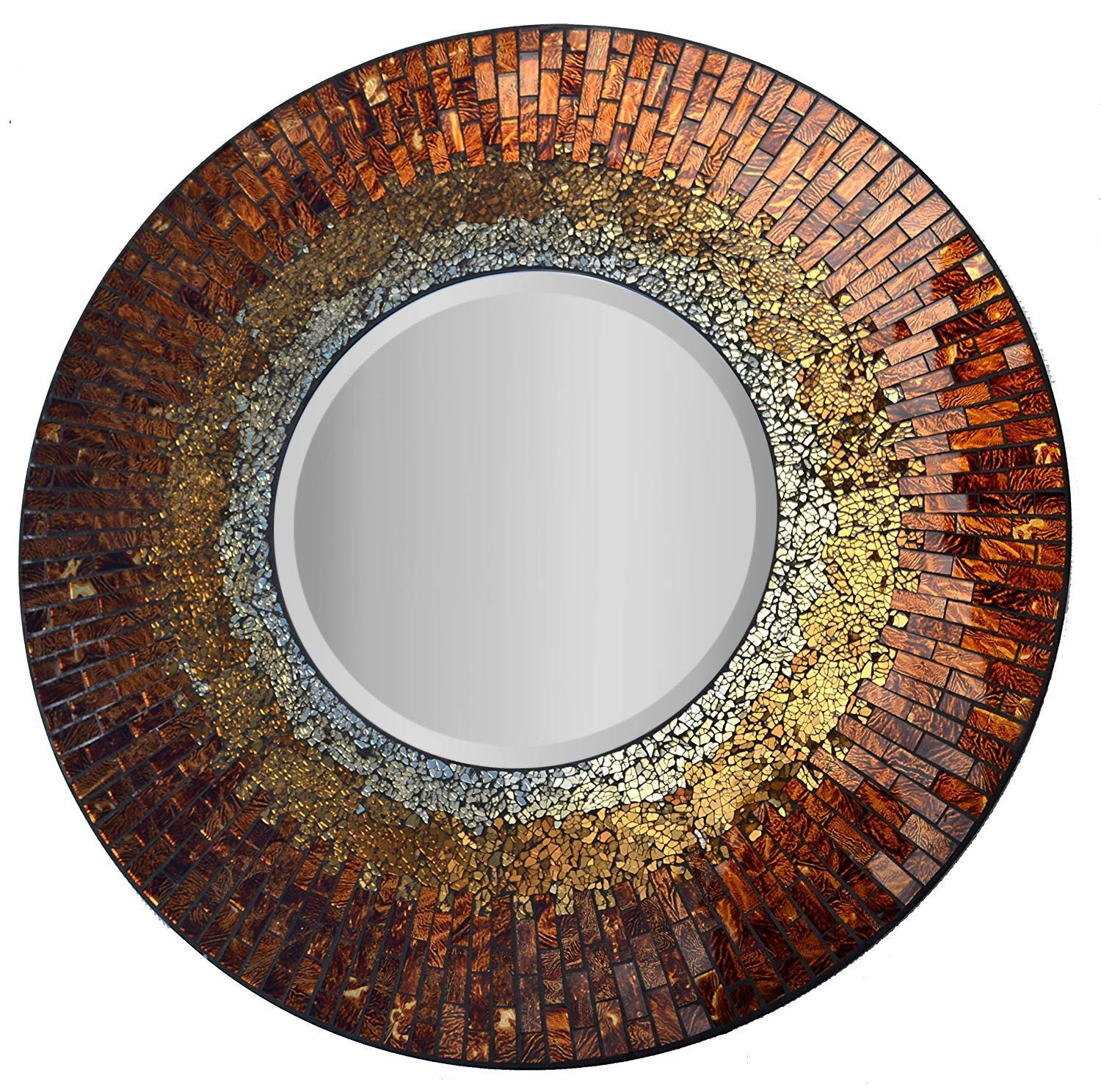 "Turning it up a notch with a matching mirror: The Lulu Decor, Baltic Amber Mosaic Wall Mirror. Is a decorative and handmade  My favorite of 9 Accessories For A Cozy Home Decor  - beveled round mirror.  Home Accessories For Cozy Home Decor It measures a diameter of 23.5"", that's 11.5"" for the mirror. And it is a perfect match to go with the wall clock above. (LP301) Price: $152.53 & FREE Shipping"