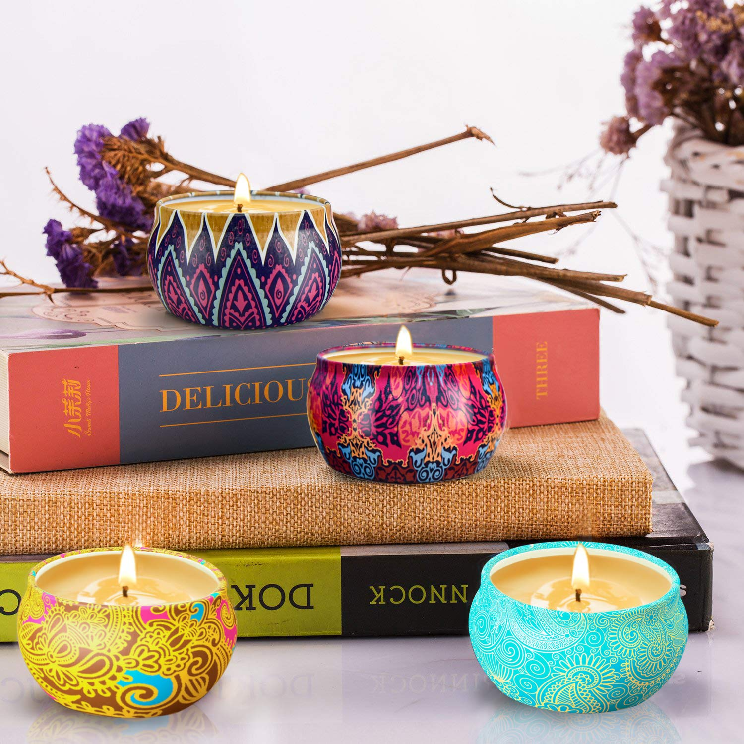 ADVANCED SCENTED CANDLES: Are not only a home accessory ...7% essential oil and 93% pure natural soy wax. Aromatherapy candle gift set of 4 fragrances: Lavender Candle, Freesia Candle, French Vanilla Candle and Rosemary Candle. • LONG LASTING SOY CANDLES: Upgraded large jar of scented candles in 4.4 oz, more than 30 hours burning time, provide natural flower scents, relief and relaxation for you and guests. • FRIENDLY TO PEOPLE: 100% natural soy wax, evenly burning and produce no black smoke, healthier, harmless to human body and environment. • DREAMED GIFT SET: Vintage designed scented candle jars packaged in an exquisite colorful box, show your luxury taste and efforts. Dreamed gift set for your friends and family. • WHAT YOU GET: A carefully designed aromatherapy candle set of 4 natural soy candles. • Decorative in form, color and style • 100% MONEY BACK and LIFETIME WARRANTY. more of 9 Must Have Home Accessories
