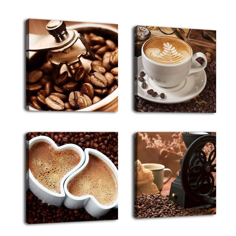 Wall Art Coffee decor Canvas-Coffee-Prints-Framed