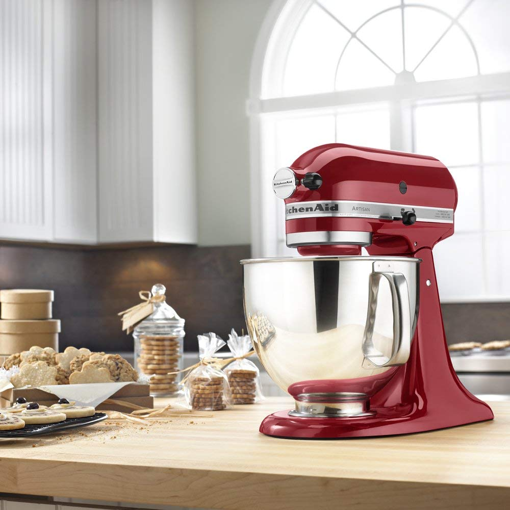 KitchenAid stand mixer artisan ships with stainless steel bowl pooring shield and 3 KitchenAid attachments