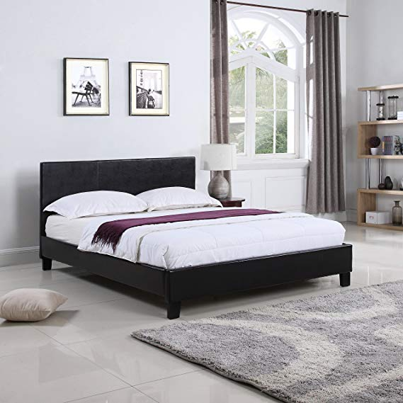 DIVANO ROMA FURNITURE Classic Deluxe Bonded Leather Low Profile Platform Bed Frame with Paneled Headboard Design (Queen) zinus twin size mattress,