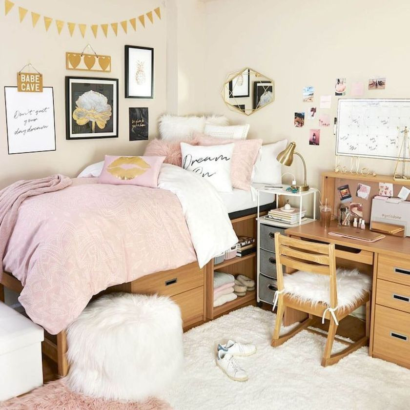 A great example is the Bed with the storage beneath of it in the photo above, I would add some  floating shelves.  You can use anything with small foot print that climbs up.