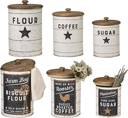 kitchen storage container for flour . coffee , sugar
