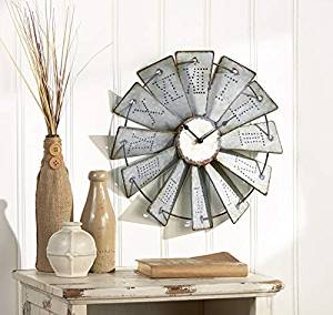 "COUNTRY STYLE - Complement your rustic décor with our beautiful farmhouse style Windmill Wall Clock RUSTIC FARMHOUSE DESIGN - Each distressed blade has the roman numeral hour stamped giving it an antique vintage look BATTERY POWERED - Requires 1 ""AA"" carbon zinc battery - HEAVY DUTY CARBON ZINC BATTERY RECOMMENDED. ALKALINE BATTERY MAY CAUSE CLOCK TO FAIL. MULTIPLE SIZES AVAILABLE - Available in three sizes, 14-1/2 inch, 18-1/2 inch, and 24 inch diameter MOUNTING BRACKET INCLUDED - Includes easy to install no drill mounting bracket with four small nails for effortless secure wall mounting"