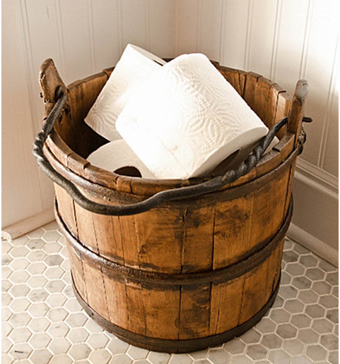 A wood water barrel is the perfect storage location for extra bathroom tissue or other washroom gadgets. It's useful and beautiful at the really same time.