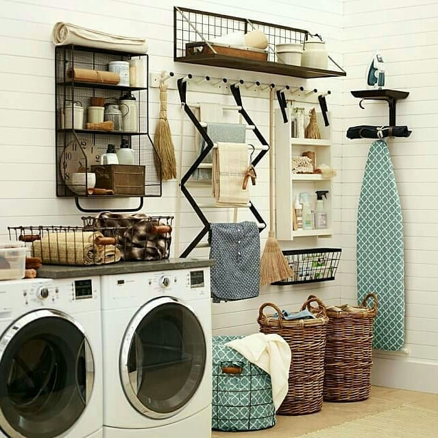 Someone has many fantastic farmhouse laundry room ideas Where did you get all the wicker baskets?
